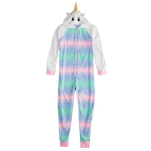 e30aedf4c61 Girls 4-14   Plus Size SO® Fleece Hooded Footless Pajamas