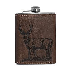 Hammer and Axe 8-ounce Flask with Embossed Leather Sleeve