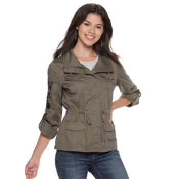 Juniors' American Rag Floral Embroidered Utility Jacket