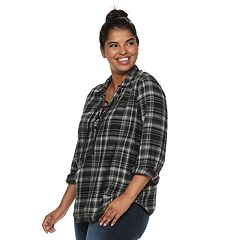 Juniors' Plus Size Mudd® Plaid Lace-Up Flannel Shirt