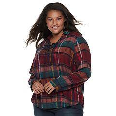 Juniors' Plus Size Mudd® Plaid Lace-Up Flannel Shirt