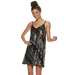 Juniors' Lily Rose Striped Sequin Slip Dress