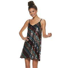 19d221b3bc2cb4 Juniors' Lily Rose Striped Sequin Slip Dress