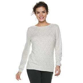 Women's ELLE? Embellished Diamond-Stitch Sweater
