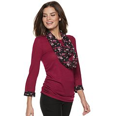 Women's ELLE™ Mock-Layer Top & Scarf Set