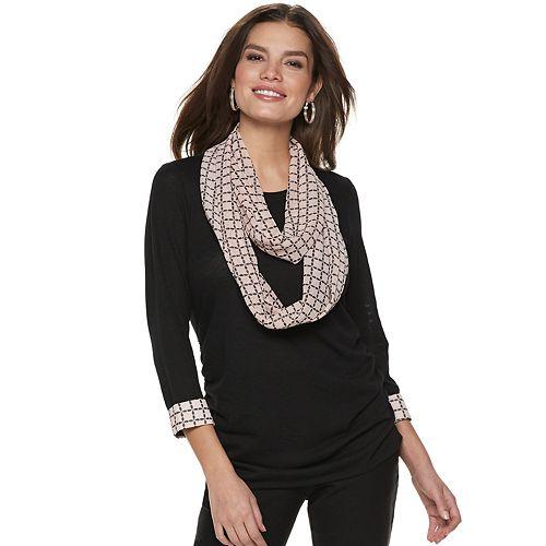 Women's ELLE™ Mock-Layer Top & Scarf Set