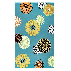Rizzy Home Michael Azzura Hill Floral Rug - 5' x 7'6'