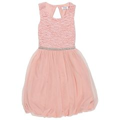 Girl's 7-16 Speechless Glitter Lace to Tulle Skater Dress