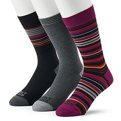 Men's Funky Socks 3-pack Stripes Casual Crew Socks