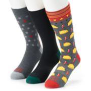 Men's Funky Socks 3-pack Taco Tuesday Casual Crew Socks