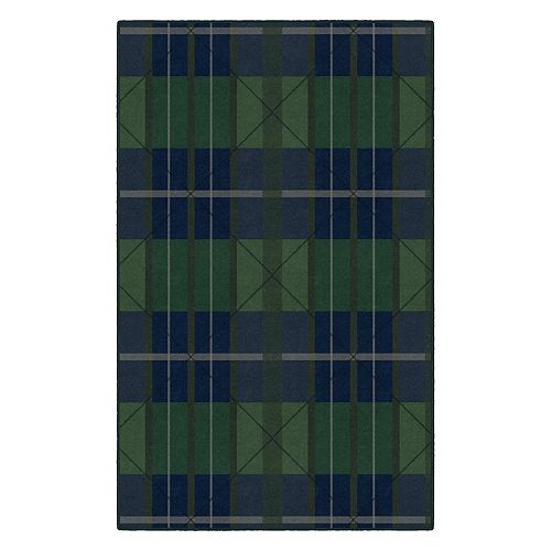 Brumlow Mills Green & Blue Traditional Plaid Rug