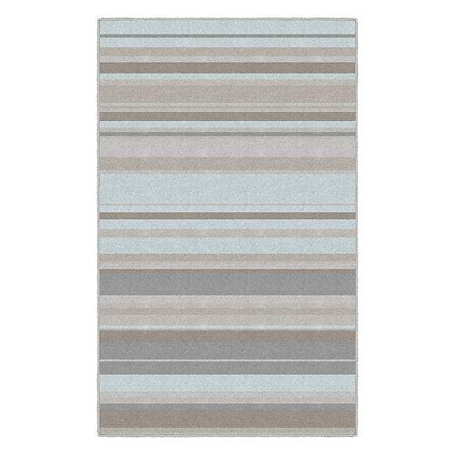 Brumlow Mills Pastel Blue Traditional Stripes Rug