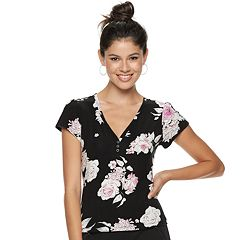 Juniors' Candie's® Flutter Sleeve Floral Top