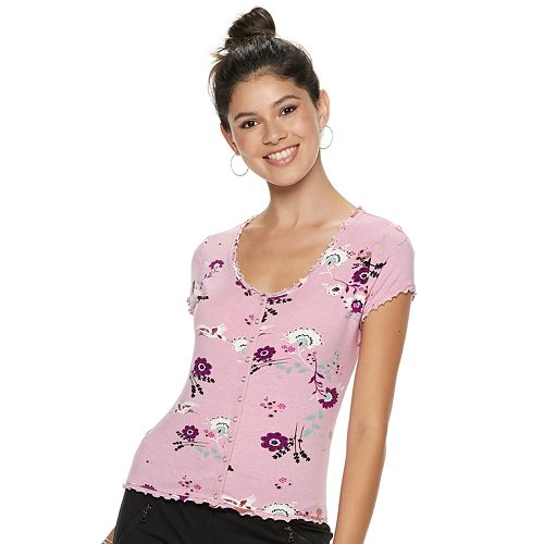 Juniors' Candie's® Snap-Front Floral Top