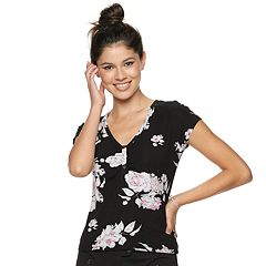 Juniors' Candie's® Ruched Floral Top