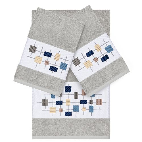 Linum Home Textiles 3-piece Turkish Cotton Khloe Embellished Towel Set