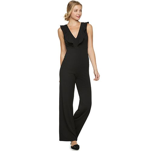 Juniors' Almost Famous Ruffled Open-Back Jumpsuit