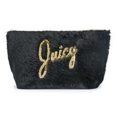 Juicy Couture Black Faux Fur Cosmetic Bag