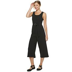 Juniors' Almost Famous Wide-Leg Capri Jumpsuit