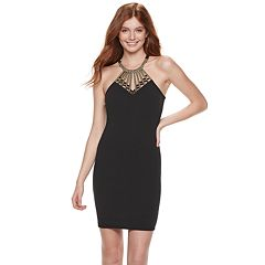 Juniors' Almost Famous Embellished Neck Bodycon Dress