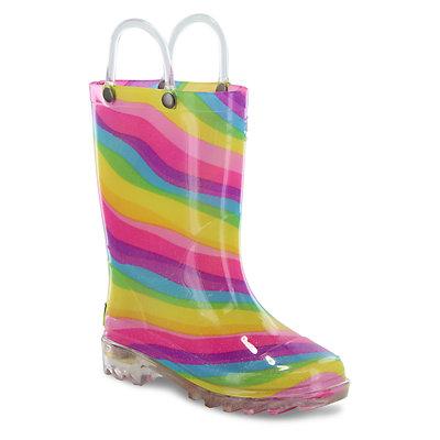 Western Chief Rainbow Girls' Light Up Waterproof Rain Boots
