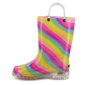 Western Chief Rainbow Girls' Light Up Waterproof Rain Boots