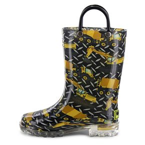 Western Chief Build Site Boys' Light Up Waterproof Rain Boots