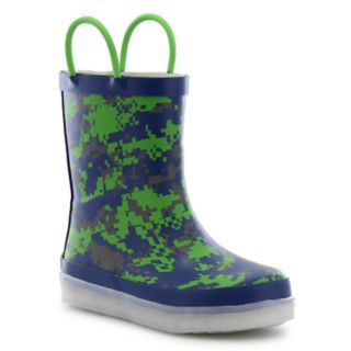 Western Chief Digital Camo Boys' Light Up Waterproof Rain Boots
