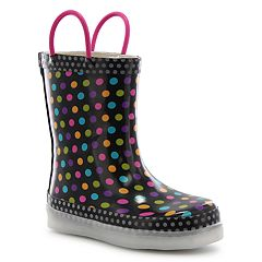 Western Chief Diva Dot Girls' Waterproof Light Up Rain Boots