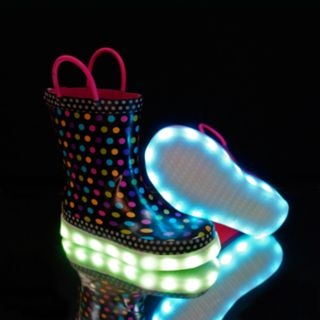 Western Chief Diva Dot Girls' Waterproof Light Up Rain Boots