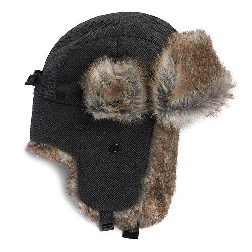 Men's Chaps Herringbone Wool-Blend Faux-Fur Trapper Hat