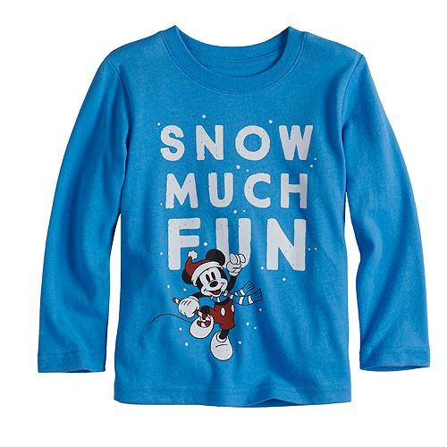 """Disney's Mickey Mouse Toddler Boy """"Snow Much Fun"""" Softest Graphic Tee by Jumping Beans®"""