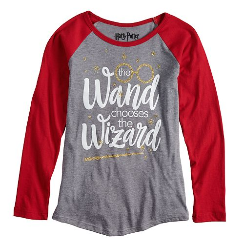 Girls 7-16 Harry Potter Wizard Wand Raglan Tee