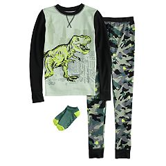 Boys 4-10 Cuddl Duds Dinosaur 2-Piece Pajama Set with Socks