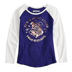Girls 7-16 Harry Potter Foil Hogwarts Crest Raglan Tee