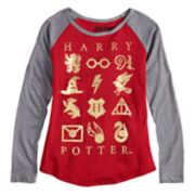Girls 7-16 Harry Potter Foil Raglan Tee