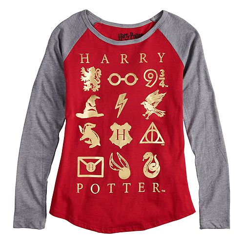 Girls 7-16 Harry Potter Foil Raglan Tee