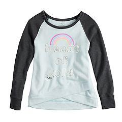Girls 7-16 SO® Long Sleeve Graphic Design Fleece Top