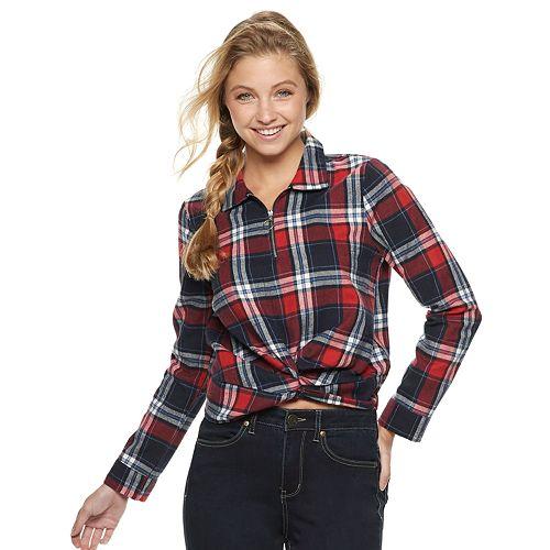 Juniors' Crave Fame Twist Front Plaid Shirt
