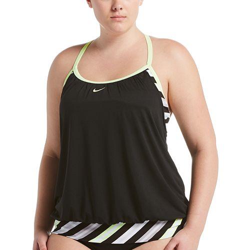 e7a2fbfbade68 Plus Size Nike Sport Stripe 2-in-1 Tankini Top