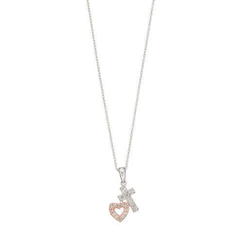 10k White Gold 1/10 Carat Diamond Cross & Heart Pendant Necklace