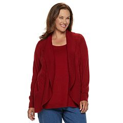 Plus Size Croft & Barrow® Cozy Layered Cardigan Set