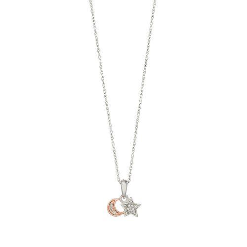 10k White Gold Diamond Accent Moon & Star Pendant Necklace