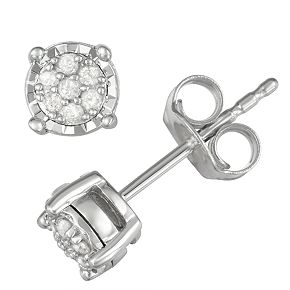 Sterling Silver 1/10 Carat T.W. Diamond Cluster Stud Earrings