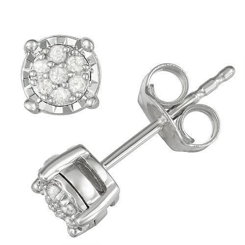 Sterling Silver 1/10 Carat T.W. Diamond Cluster Stud Earrings