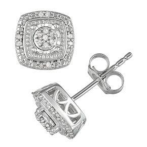 Sterling Silver 1/10 Carat T.W. Diamond Tiered Stud Earrings