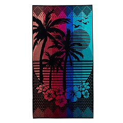 Celebrate Summer Together Palm Sunset Turkish Cotton Beach Towel