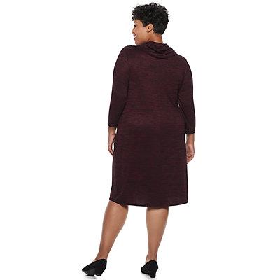 Plus Size Dana Buchman Cowlneck Shift Dress