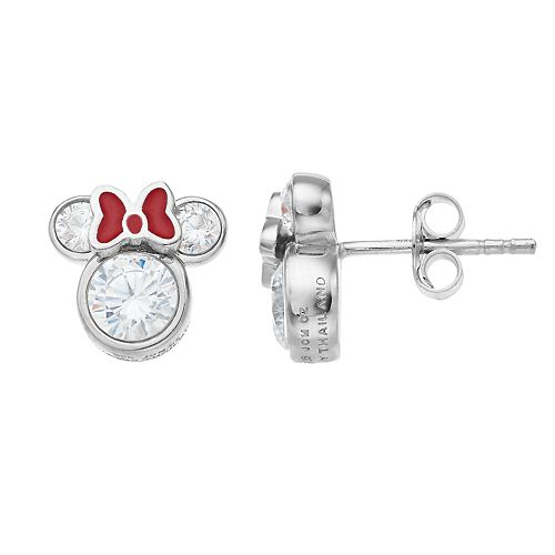 Minnie Mouse Sterling Silver Cubic Zirconia Stud Earrings