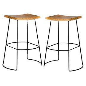 Carolina Forge Reece Saddle Bar Stool 2-piece Set